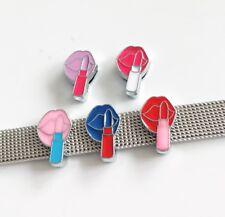 10PCs 8mm Enamel Lipstick Slide Charms Fit DIY 8mm Collar Belts Tags Bracelets
