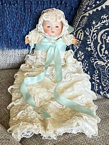 """Armand Marseille German 12"""" Baby Doll in Lace Christening Gown"""