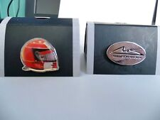 Michael  Schumacher hat/lapel badges 1 of each red helmet & oval signature badge