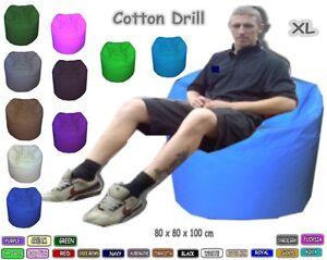 Cotton Drill X Large Beanbag Various Colours  80 x 80 x 110 cm. Comes Filled