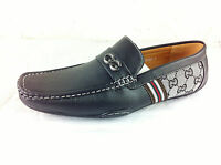 Mens Leather Look Designer Inspired Slip On Loafers Shoes Black Grey Size 6 7