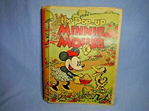The Pop-Up Minnie Mouse Book Illustrated Hardcover Disney 1933 Vintage Needs TLC