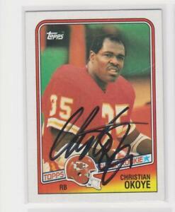 CHRISTIAN OKOYE KANSAS CITY CHIEFS 1988 TOPPS #363 AUTOGRAPHED ROOKIE CARD
