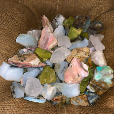 1000 Carat Lot of Mixed Opal (Green, Blue, Pink, Clear) Rough + FREE Faceted Gem
