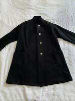Sara Robert´s Women´s Black Winter Wool Coat size 10. Silver Buttons.