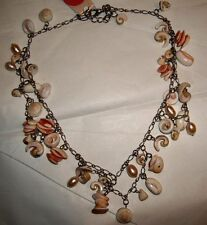 NWT Bendel's SEQUIN New York Coral Sea Shell  Bib Necklace