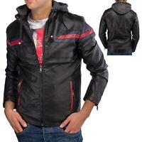 Veste en cuir pour homme avec capuche amovible Faux cuir Veste motard style