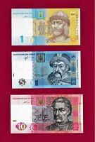 UKRAINE UNC NOTES 1 Hr 2014 P-116, 5 Hryven 2013 P-118 & 10 Hryven 2015 -P119