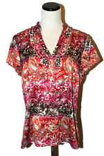 EAST 5th Colorful Ruffle Neckline Button Front Short Sleeve Polyester Shirt L