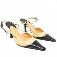 Chanel Classic Leather Sling back Heels Pumps Beige & Black - Size 36 -  France