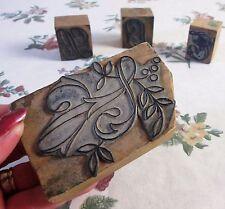 Lote de 4 bloques de carta de madera antiguo francés para el bordado