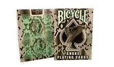 Rare Bicycle Snake Deck Playing Cards - Cobra Skin Back Design Black Mint Green