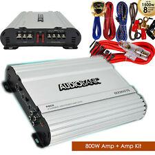 Audiobank 2 Channels 800W Bridgedable Car Audio Amplifier + 8 GA  Amp Kit