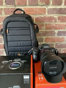 Sony a7riii with G 24-105mm f/4 lens And Lowepro camera bag