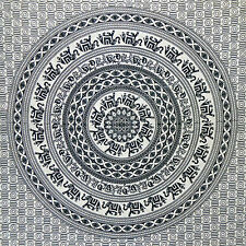 Tenture Couverture Indienne Éléphants Mandala noir et blanc 230x200cm Coton Déco