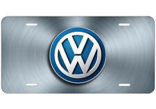 Volkswagen VW Aluminum License Plate Tag Unique Design Steel Blue
