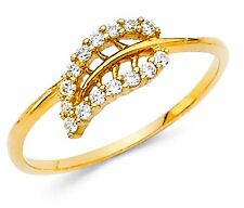 14k Solid Yellow Gold Diamond Engagement Leaf Design Ring 1.3 grams width 8 mm