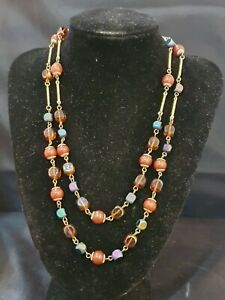 """VINTAGE 2 strand chain link Necklace Brown Glass & Carnelian beads  20""""L"""