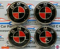 BMW  Alloy Wheel Centre Caps Black and Red for 1 2 3 3 5 7 Series  Set of  4