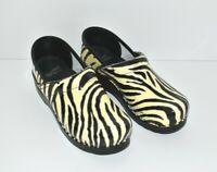 DANSKO Zebra Print White Black Patent Leather Clogs Size EU 39 US 8.5