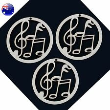Wooden Music Decoration 3-pack natural note treble wood ornament with strings