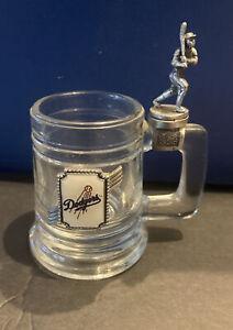 SCARCE VINTAGE LA DODGERS MINIATURE TANKYARD GLASS W/FIGURAL SLUGGER HANDLE TOP