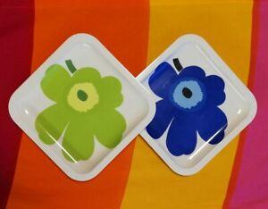 2 psc MARIMEKKO ZAK Designs Blue / Green Poppy Unikko Floral Design Plates Bowl