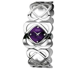 Seksy Ladies' Purple Dial Crystal Hidden Hearts Watch Bracelet By Simply Set NEW