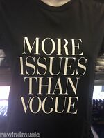 LADIES WOMENS  'MORE ISSUES THAN VOGUE' T SHIRT IN BLACK