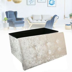 Large Storage Box Crushed Velvet  Folding Ottoman Toy Storage Box Seat Stool NEW
