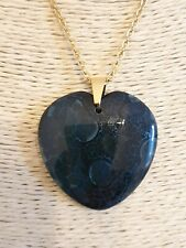 Blue & Black Fire Dragon Veins Agate Gold Plated Stainless Steel Chain Necklace