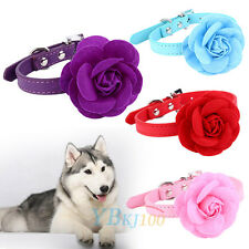 Adjustable Pets Dog Collar Flower PU Leather Puppy Cat Choker Necklace XS S M L