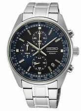 SEIKO Mens Chronograph Stainless Steel Case Bracelet Watch SSB377 New With Tags