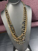 Vintage Gold Tone Long Multi Strand Silver Grey Black Sweater Necklace 28""