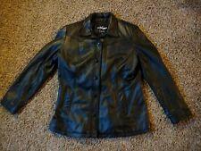Wilson's Maxima Women's XL Black Leather Jacket Button Up Black Liner.