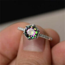 Princess Cut Mystic Rainbow Engagement Exquisite Womens Silver Ring LT