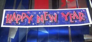 Happy New Year Party Banner Fringed Metallic Foil New Year's Eve Decoration NEW