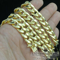 """MEN'S NEW REAL 10K YELLOW GOLD 9MM MIAMI CUBAN LINK NECKLACE CHAIN 24"""" 26"""" 28"""""""