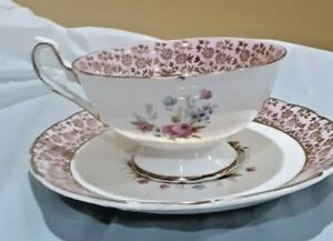 Woodlands Fine China Cup & Saucer Floral Pink W/ Gold Trim England
