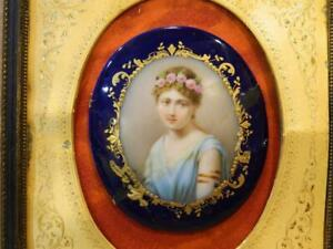 Miniature Painting Greco Roman Woman On Porcelain , Wood Frame Antique