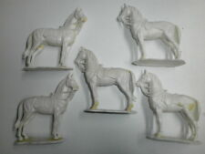 Convoluté 5 Antique Elastolin PLASTIQUE Figurines Ébauche Far West Chevaux Zu