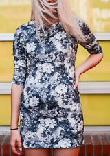 ZARA WOMENS GREY MONOCHROME FLORAL PRINT BODYCON MINI DRESS *SIZE: XS/UK 6-8*