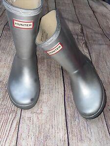 Hunter Silver Rain Boots US 12 Boy / 13 Girl UK 11