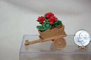 Miniature Dollhouse Wood Wagon Planter w Red Geranium Flowers 1:12 NR