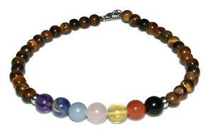 Tiger Eye Chakra Stones Anklet Bracelet Crystal Healing Natural Gemstones 6-8mm