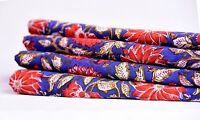 10 Yard Indian Handmade Blue Flower Natural Jaipuri Hand Block Print Fabric Art
