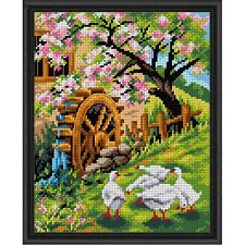Spring Blossoms Geese & Waterwheel - Needlepoint Canvas Orchidea