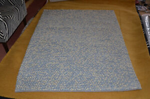 Blue Rug Bobble Texture Felted Pile Soft 100% Pure Wool Luxury 120cm x 160cm