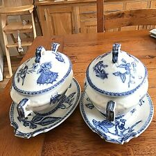 More details for pair of fabulous victorian  blue and white tureens   medium size  with spoons