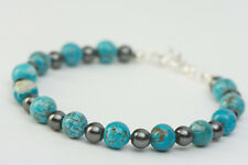 Handcrafted Turquoise Blue Magnesite Bracelet with Gray Glass Pearls, Large